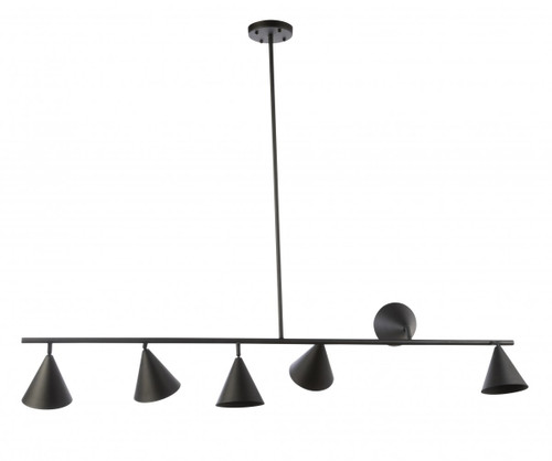 Conor 6 Light Adjustable Heads Linear Bar Pendant Light