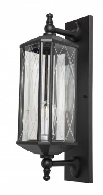 Lucy Black Clear Glass Coach Wall Light