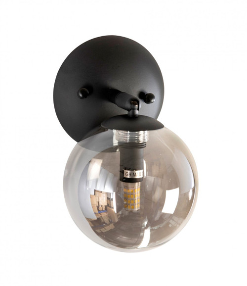 Modern 1 Light Black Globe Wall Light