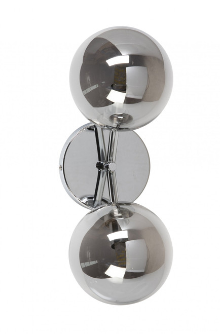 Modern 2 Light Chrome Globe Wall Light