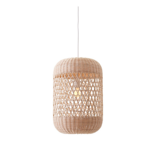 Ophelia Drum Natural Rattan Woven Pendant Light