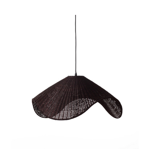 Adaya Wave Brown Rattan Pendant Light