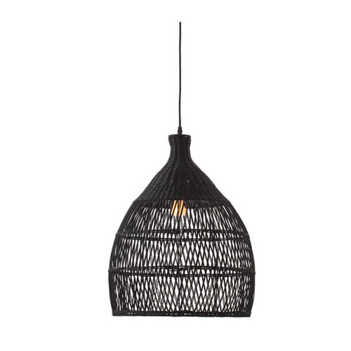 Shanen Black Rattan Pendant Light
