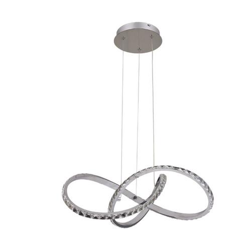 Diamanto Knot Crystal Dimmable LED Pendant Light - Chrome