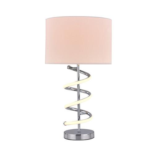 Jeanne White Chrome Spiral Table Lamp