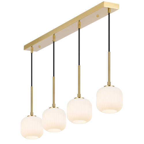 Blaise 4 Light Ribbed Glass Gold Opal White Linear Cluster Pendant Lights