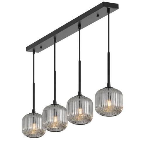 Blaise 4 Light Ribbed Black Smoke Linear Cluster Pendant Lights