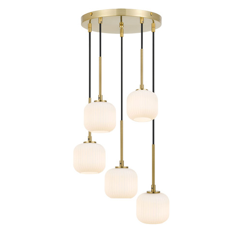Blaise 5 Light Ribbed Glass Gold Opal White Round Cluster Pendant Lights