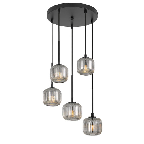 Blaise 5 Light Ribbed Black Smoke Round Cluster Pendant Lights