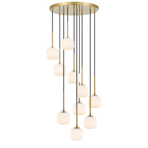 Blaise 10 Light Ribbed Glass Gold Opal White Cluster Pendant Lights
