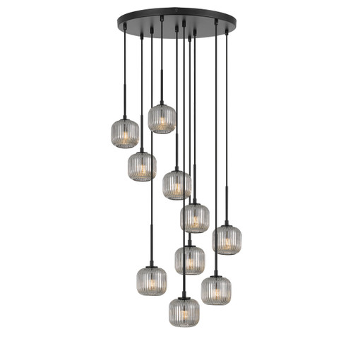 Blaise 10 Light Ribbed Glass Black Smoke Cluster Pendant Lights