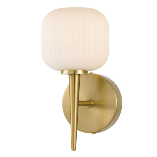 Blaise Ribbed Glass Gold Opal White Wall Sconce
