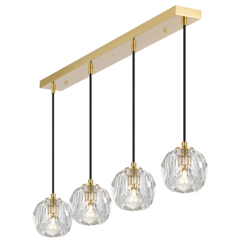 Zara 4 Light Prism Sphere Crsytal Antique Gold Linear Cluster Pendant Light