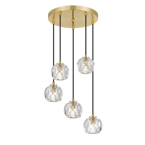 Zara 5 Light Prism Sphere Crystal Antique Gold Round Cluster Pendant Lights