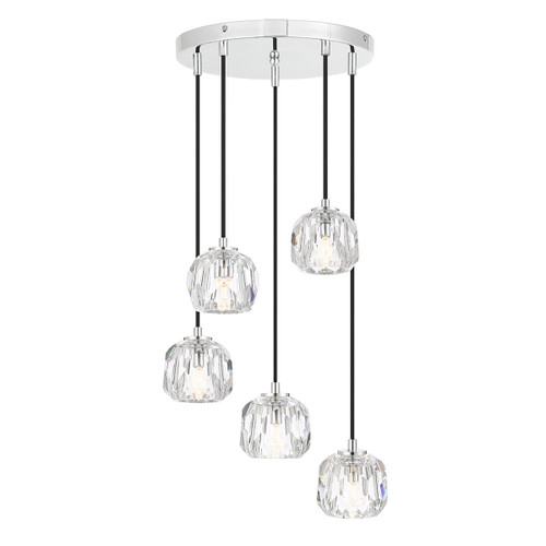 Zara 5 Light Prism Sphere Crsytal Chrome Round Cluster Pendant Lights