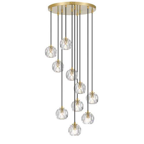 Zara 10 Light Prism Sphere Crsytal Antique Gold Round Cluster Pendant Lights