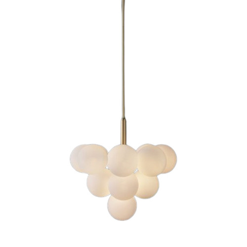 Grape 13 Light Brass Opal White Pendant Chandelier