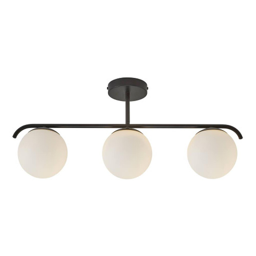 Grant 3 Light Black Opal Linear Close To Ceiling Light