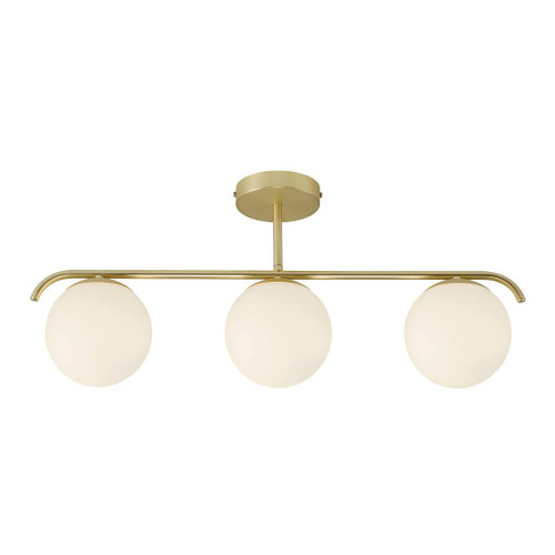Grant 3 Light Brass Opal Linear Close To Ceiling Light