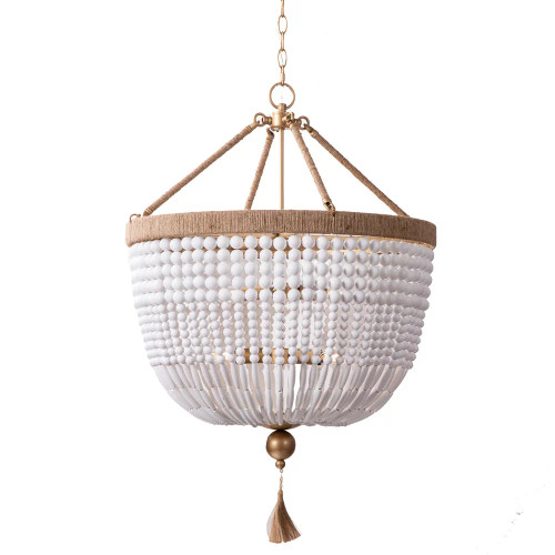 Magali White Antique Gold Beaded Chandelier