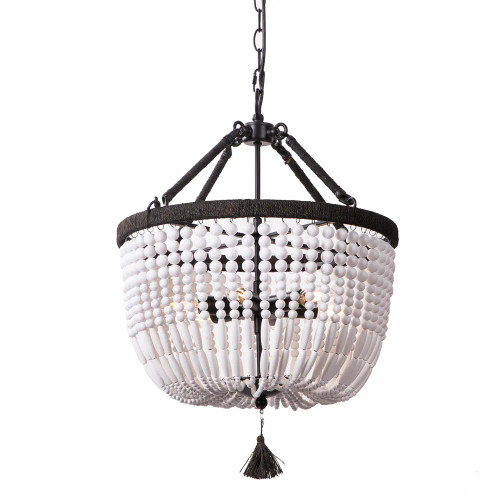 Magali White Black Beaded Chandelier