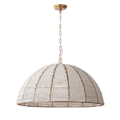 Sevrin Dome White Antique Gold Beaded Pendant Light