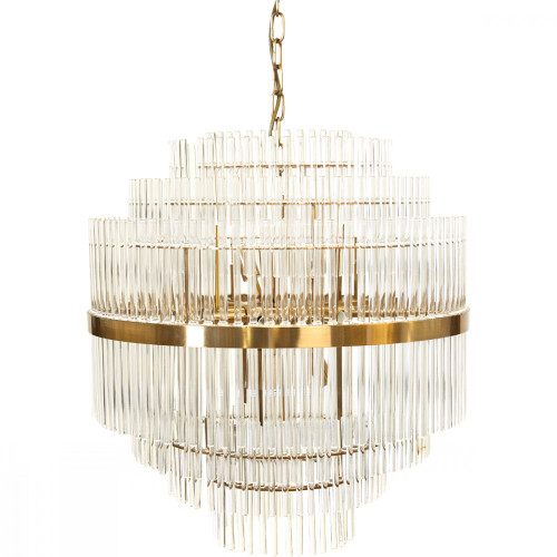 Leonard Tiered Brass Glass Pendant Chandelier