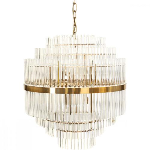 Leonard Tiered Brass Glass Pendant Chandelier