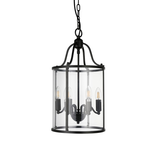 Bevis Black Glass Cage Pendant Light