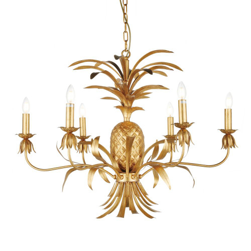 Talia 6 Arm Antique Gold Pineapple Chandelier