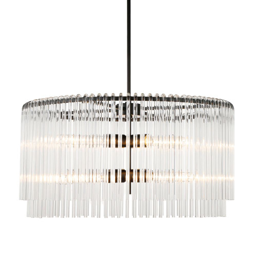 Zephanie Round Black Crystal Drops Pendant Light