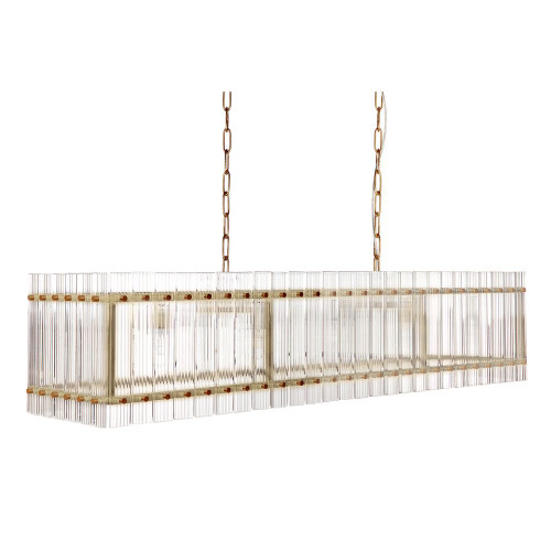 Paloma Linear Brass Clear Pendant Chandelier