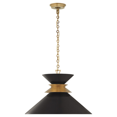 Alborg Large Cone Black and Antique Brass Pendant Light