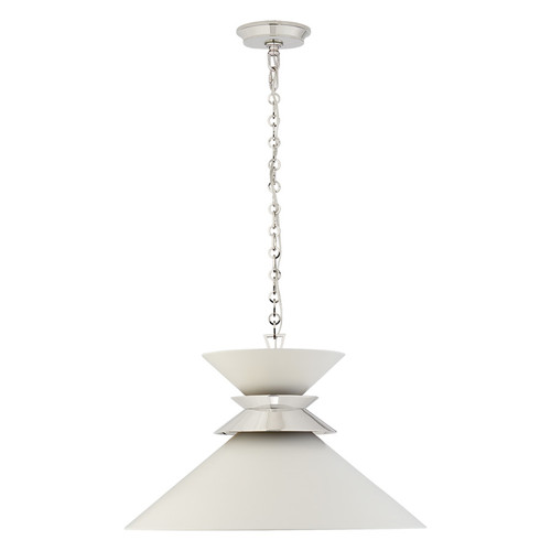 Alborg Large Cone Matte White and Polished Nickel Pendant Light