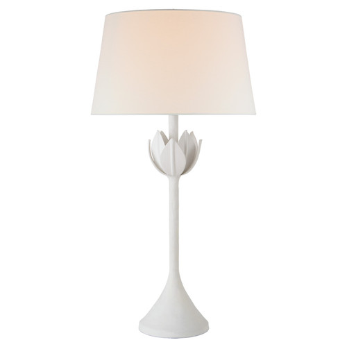 Alberto Large Plaster White with Linen Shade Table Lamp
