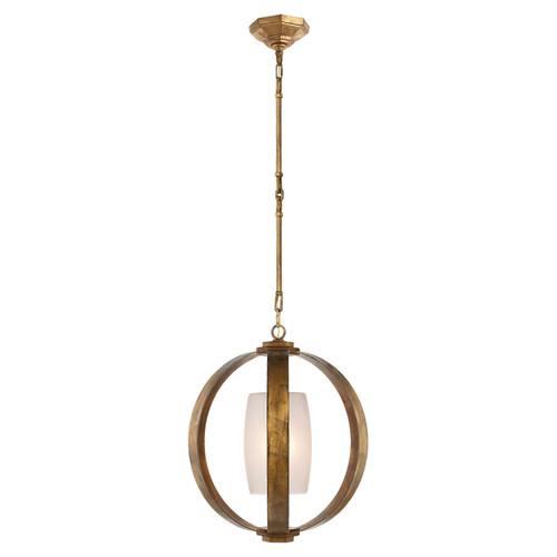 Metal Banded Abstract Sphere with Frosted Glass Pendant Light - Gilded Iron