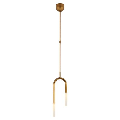 Rousseau Small Asymmetric Etched Crystal Antique Brass Pendant Light