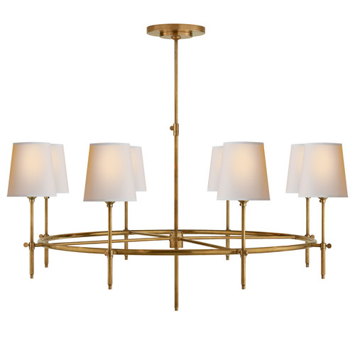 Bryant Large 8 Light Antique Brass Natural Paper Shades Ring Chandelier