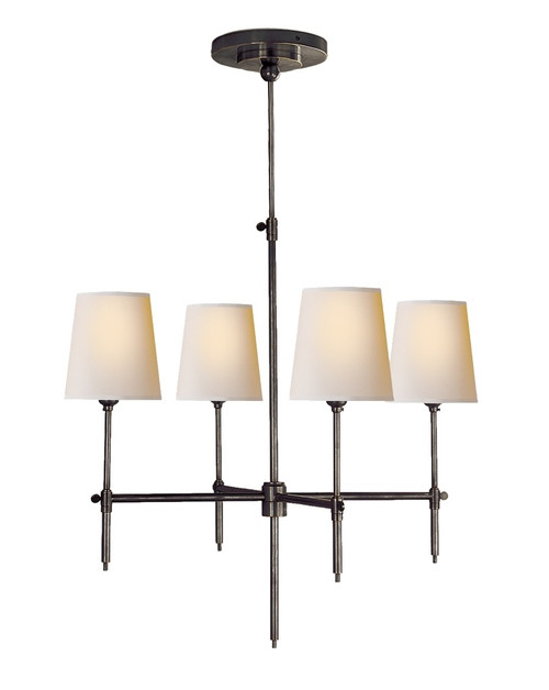 Bryant Small Natural Paper Shades Bronze 4 Light Classic Chandelier