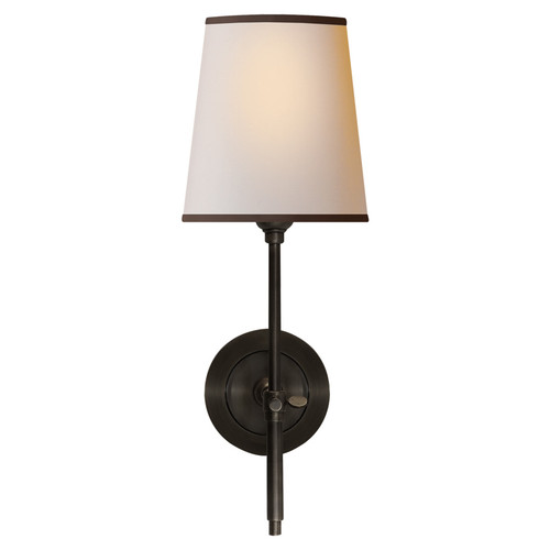 Bryant Bronze with Natural Paper Shade and Black Tape Wall Sconce