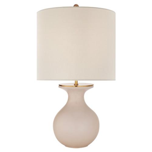 Albie Small Cream Linen Shade Desk Lamp - Blush