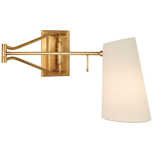 Keil Antique Brass with Linen Shade Swing Arm Wall Light
