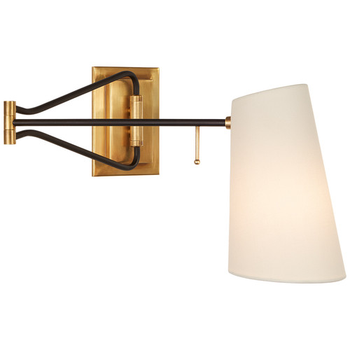Keil Antique Brass and Black with Linen Shade Swing Arm Wall Light Spec Sheet