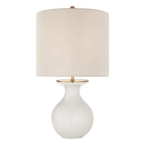 Albie Small Cream Linen Shade Desk Lamp - New White