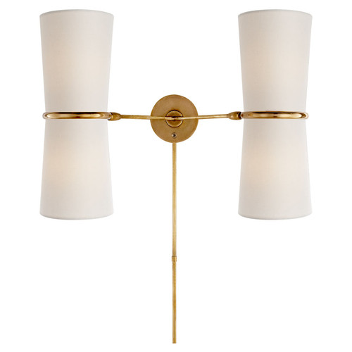 Clarkson Double Antique Brass with Linen Shade Wall Sconce