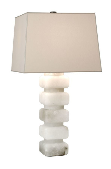 Stacked Alabaster Tapered Square Shade Table Lamp