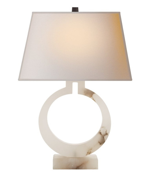 Ring Form Large Natural Paper Shade with Alabaster Table Lamp