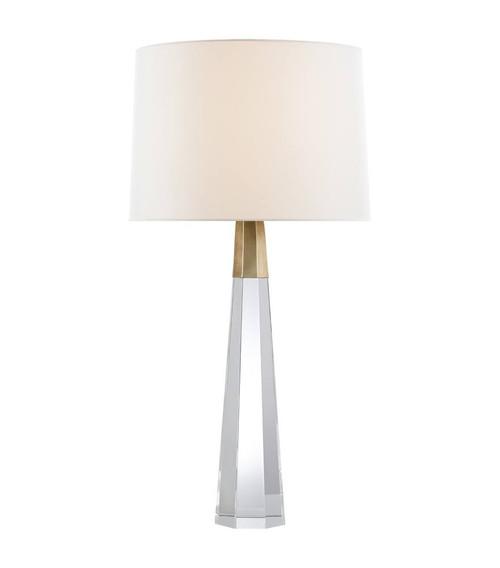 Olsen Hexagonal Crystal Base and Antique Brass Table Lamp