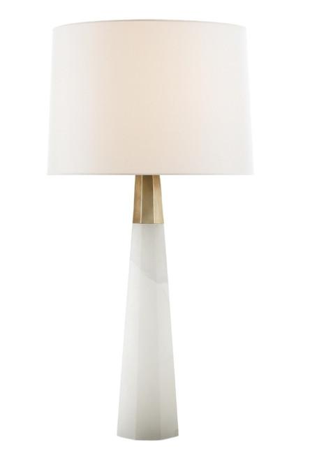 Olsen Hexagonal Alabaster Base and Antique Brass Table Lamp