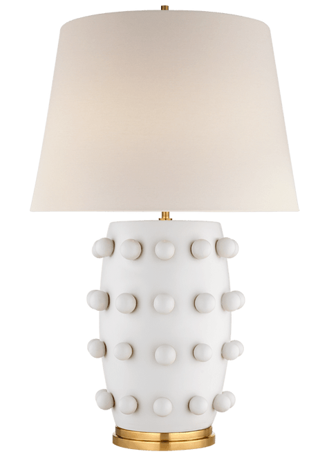 Medium Linden Plaster White with Empire Shade  Table Lamp